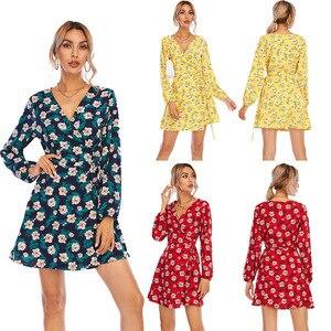 Dresses for Women 2021 New V-neck Dress Holiday Print Dress Woman Dress Maxi Dresses for Women