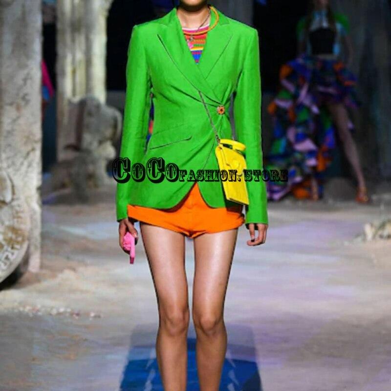 Luxury Design 21 Runway High End 1:1 jacket women New Braned Button Irregular fashion suit Long Sleeve girls blazer Green black