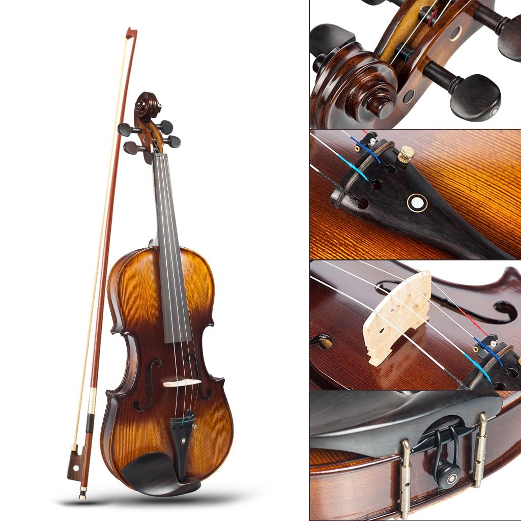 NEW 4/4 Full Size Violin Acoustic Violin W/Case+Bow+Rosin Set For Biginner Violin Learner Brown Color Violin/Fiddle enlarge