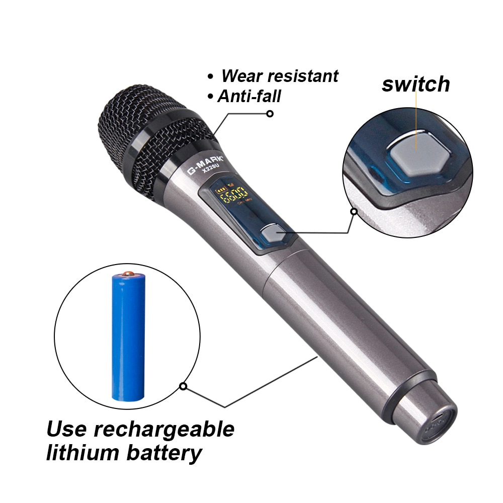 G-MARK X220U Wireless Rechargeable Microphone Recording Karaoke UHF 2 Channels Handheld Mic For Party Home Meeting Church School enlarge