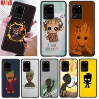 cute groot marvel art for samsung note 20 10 8 9 m02 m31 s m60s m40 m30 m21 m20 m10s f62 m62 m01 ultra pro plus phone case