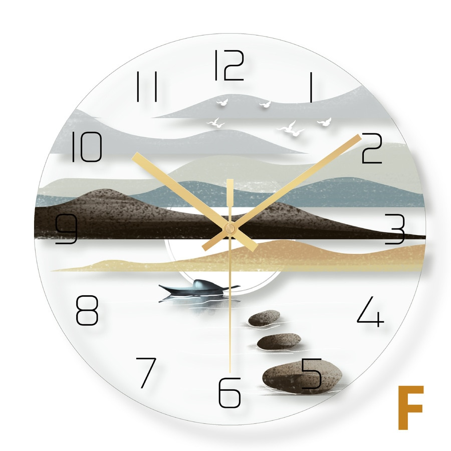 Clocks Wall Home Decor Living Room Silent Clocks Chinese Style Home Fashion Creative Watches Complex Classical Landscape Decor