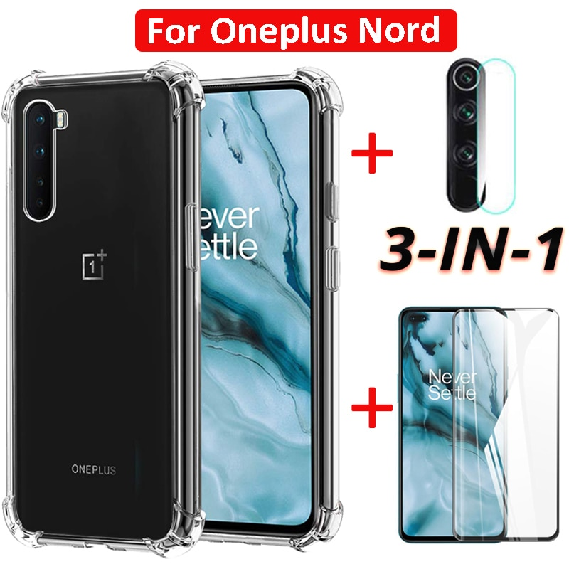[3in1] For OnePlus Nord 5G Tempered Glass Screen Protector &Camera Lens Screen Protectors & Soft TPU