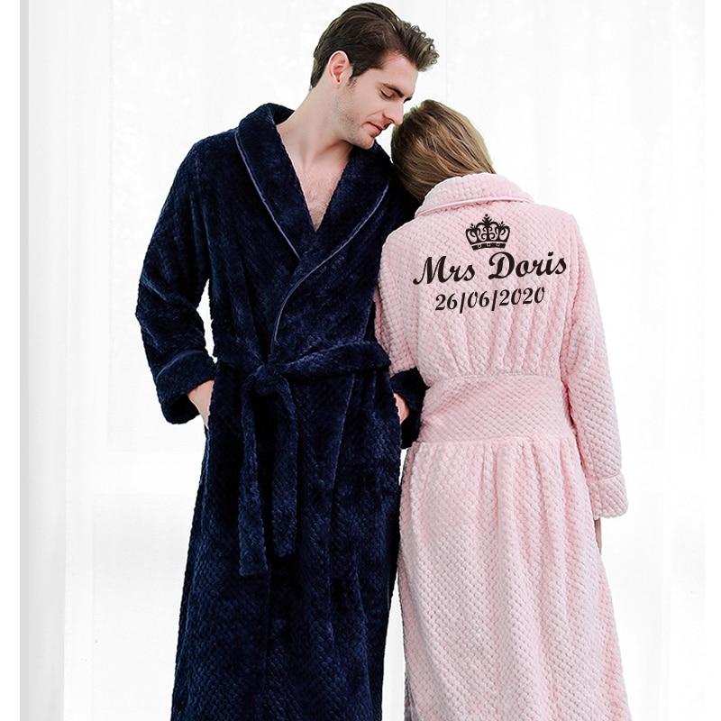 Customize Nama Date Women Men Warm Dobby Coral Fleece Bathrobe Winter Thick Flannel Thermal Kimono Dressing Gown Bride Peignoir