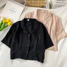 High Waist Short-Sleeved Shirt Women's New Spring and Summer Clothing Design Sense Small Zhongfu Gug