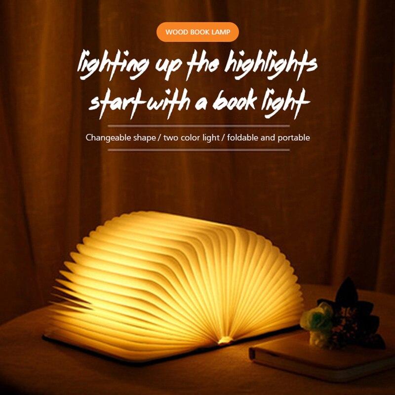 Creative Portable USB recargable LED plegable de madera lámpara de libro de noche lámpara de escritorio para regalos de decoración del hogar