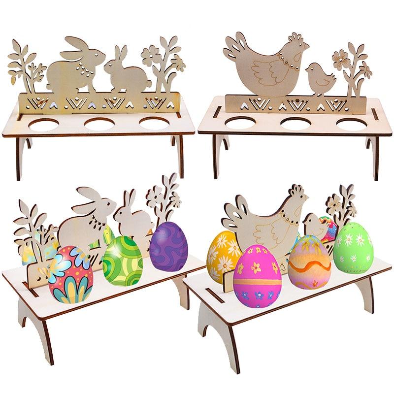 Estante de madera para huevos de Pascua con diseño de conejo, adorno de Fiesta de Pascua feliz, soporte para huevos de Pascua para decoración del hogar