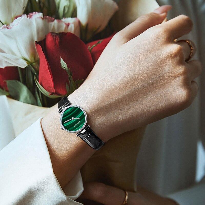 AGELOCER Small Green Women Watches Malachite Ladies Watch Waterproof Analog Quartz Wrist Watch Micro Pave Diamond Female Watch enlarge