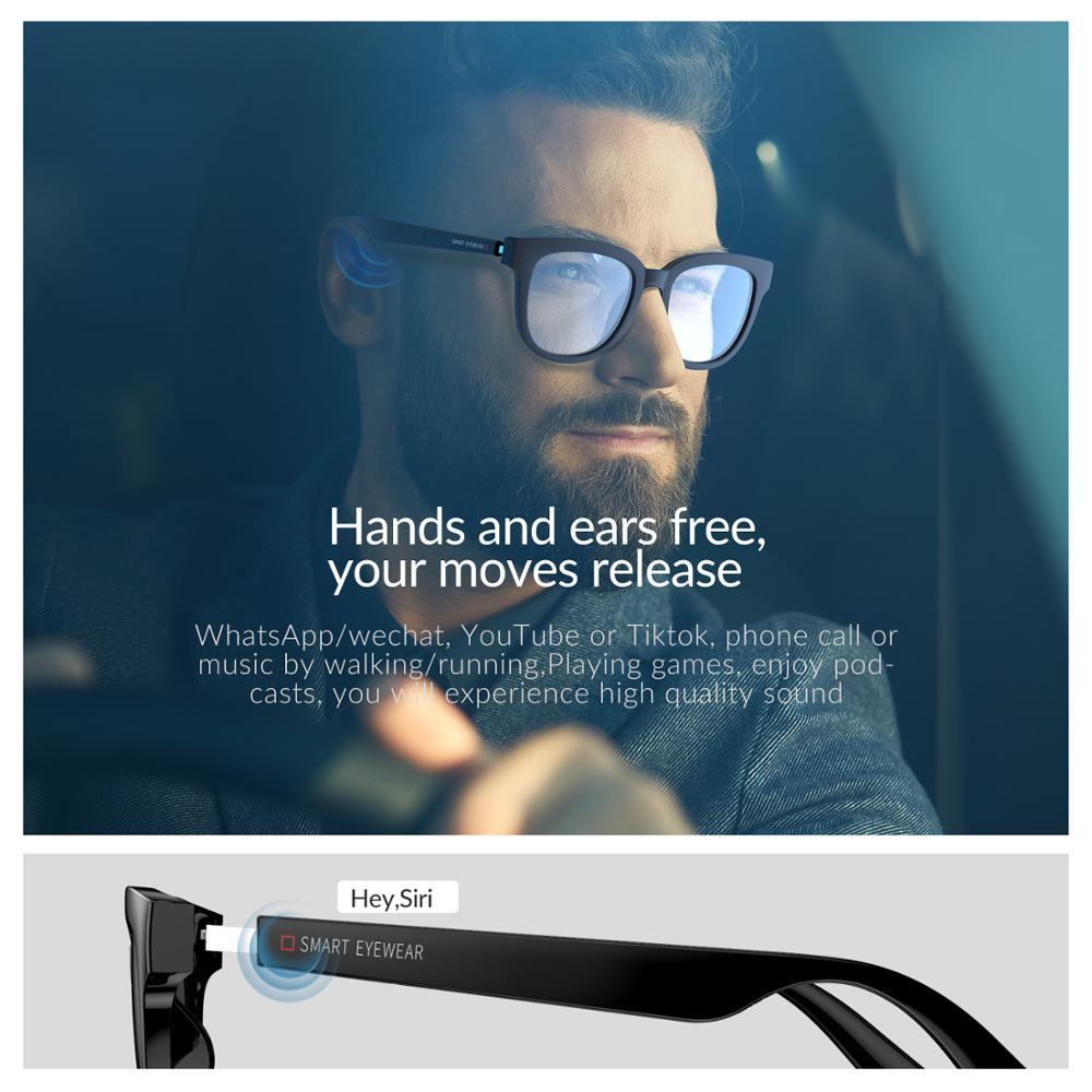 AIKSWE SMART EYEWEAR Bluetooth 5.0 Anti-blue Light Glasses Touch Wireless Stereo Music With HD Mic PK HUAWEI X GENTLE MONSTER