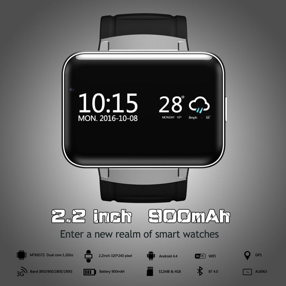 Reloj inteligente Bluetooth 2,2 pulgadas Android OS 3G Smartwatch MTK6572 Dual Core 1,2 GHz 512MB RAM 4GB ROM Cámara WCDMA GPS r20