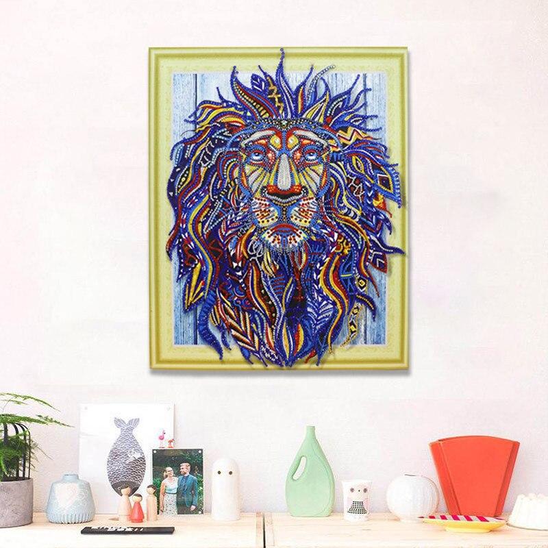 Meian diamante bordado venta León indio 5D DIY diamante pintura taladro en forma especial diamante mosaico juegos imagen Animal