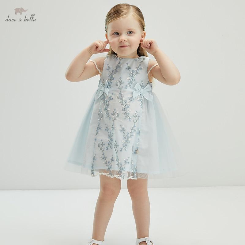 db18082 vestido infantil de verao vestido longo de malha bordado moda para criancas