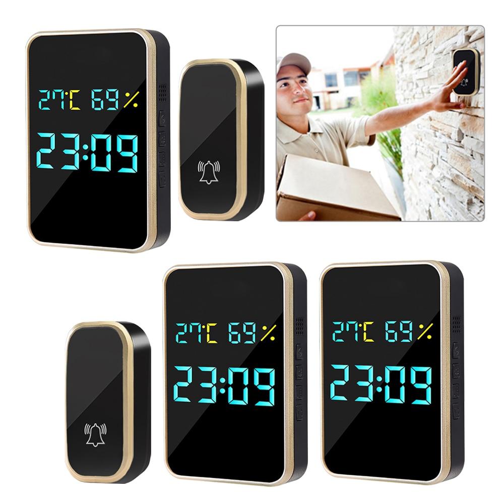 Intelligent Welcome Door Bell Wireless Doorbell Digital Home Waterproof Chime with Temperature Humid