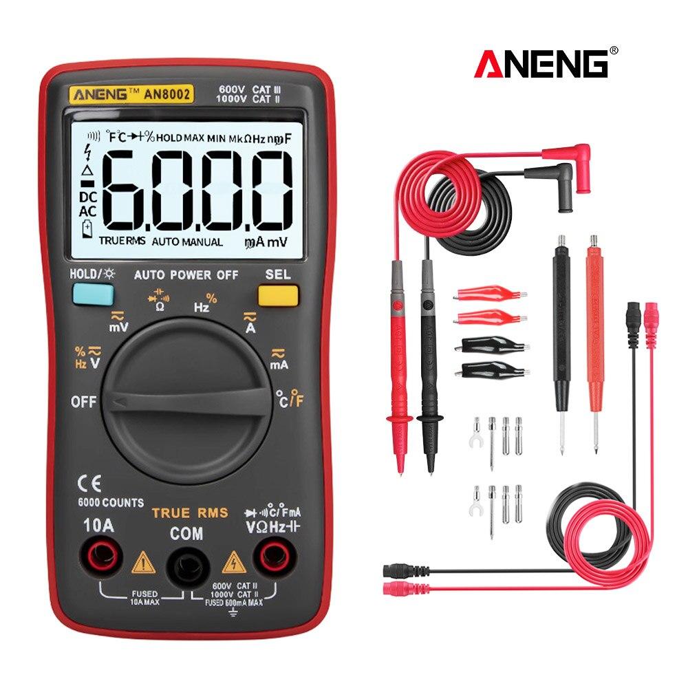 AN8002 Smart Digital Multimeter 6000 Counts Multimetro Digital Profesional Transistor Capacitor Tester lcr esr meter
