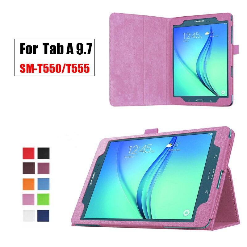 Flip soporte de la PU de cuero de Tablet para Samsung Galaxy Tab un T550 T555 SM-T550 inteligente de 9,7 pulgadas Protector de caja