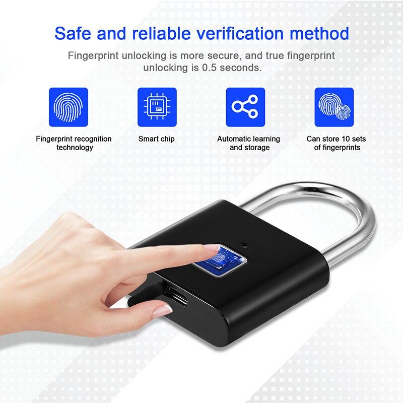 Умный дверной замок без ключа со сканером отпечатков пальцев, USB-зарядка, портативный Противоугонный замок со сканером отпечатков пальцев, ...