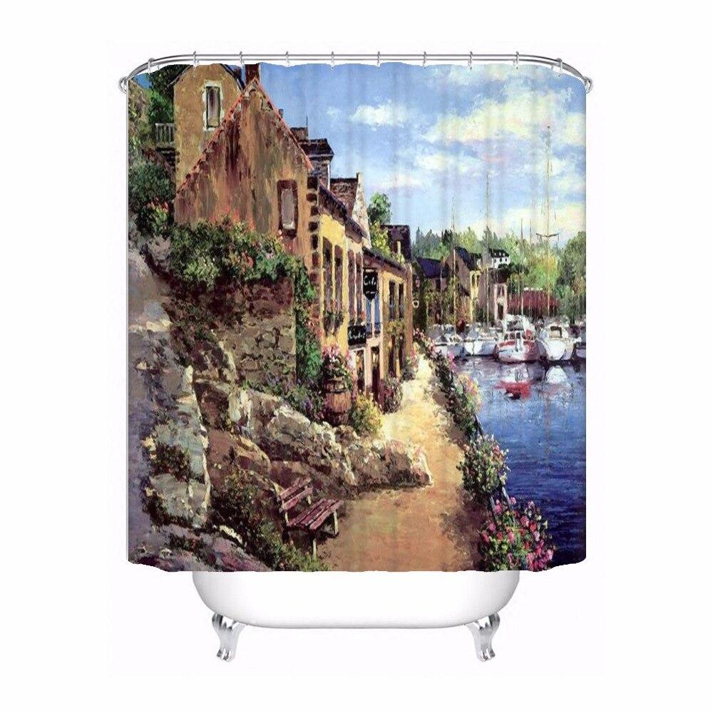 Custom Mushroom City View Shower Bath Curtain Mildewproof Waterproof Polyester Various Sizes#180417-03-156