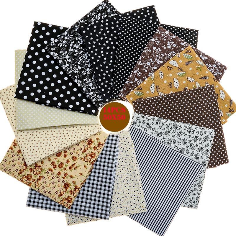 14 unids/lote 50x50 tela de algodón gris impresa, costura, tela de acolchado, calidad básica para Patchwork, costura DIY, tela hecha a mano