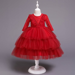 Double Beads Child Marriage Dresses Girls 1y Three Quarter Lace Sleeve Baby Girl Red Party Dress for 1 2 3 4 5 6 Years Old Kids