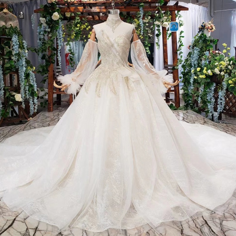 BGW HT41617 Vestido De Novia desmontable mangas cuello cadena sin tirantes De lentejuelas boda especial vestidos Vestido De Novia Bohemio