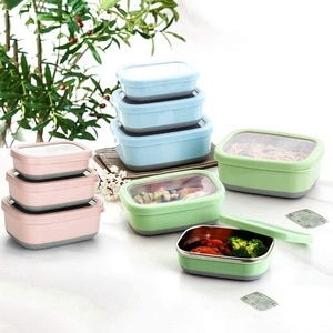 Lunch Box Food Container Bento Lunch Box with Non-Slip External Leak-Proof Crisper Sealed Bowl 3-Piece Set