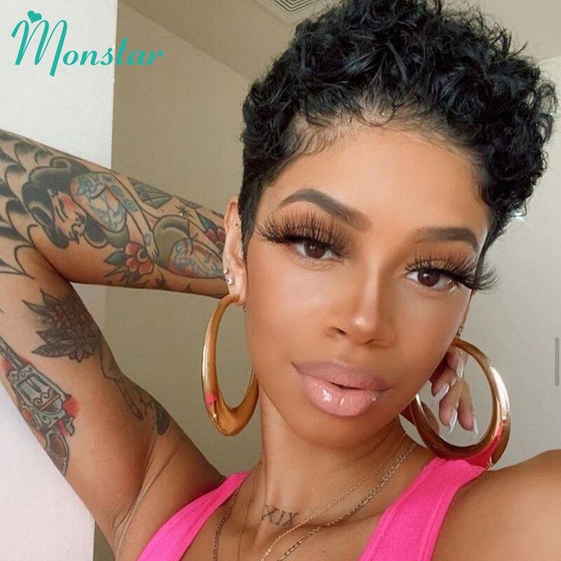 Pelucas de cabello humano Monstar de corte Pixie Bob de 100% rizado corto, pelucas de máquina completa baratas, pelucas de Color Natural Remy brasileñas para mujeres negras