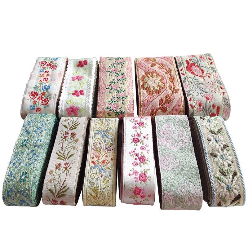 1M, cinta bordada étnica Vintage, tela bordada con ribete de encaje bohemio para DIY, accesorios de costura para bolsa de ropa, cortina