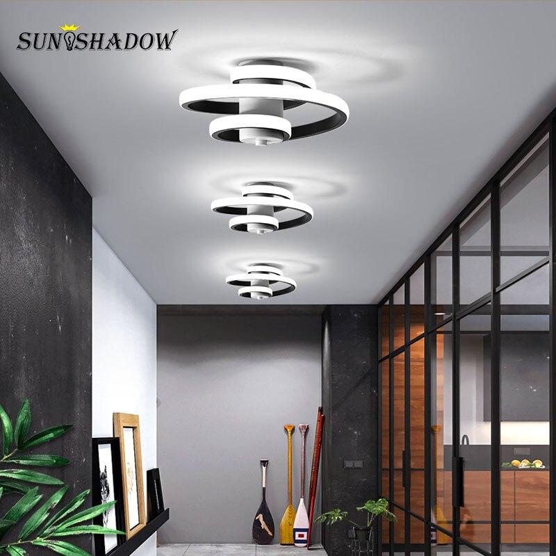 Iluminación Led de araña blanca y negra para interiores, lámparas Led modernas de 18W para salón, dormitorio, comedor y pasillo