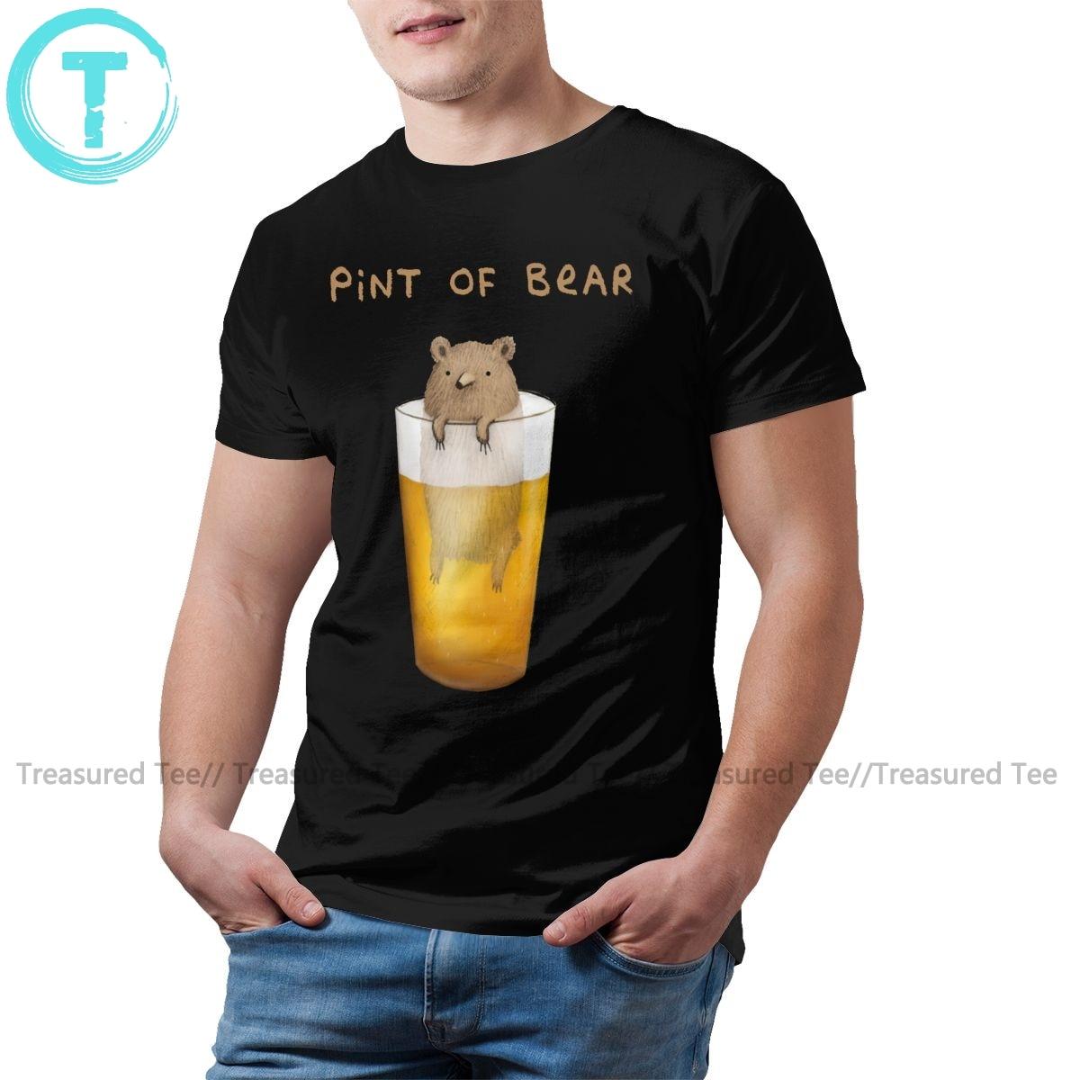 Grizzly T Shirt Pint Of Bear T-Shirt 5xl Cotton Tee Shirt Man Short-Sleeve Graphic Basic Awesome Tshirt
