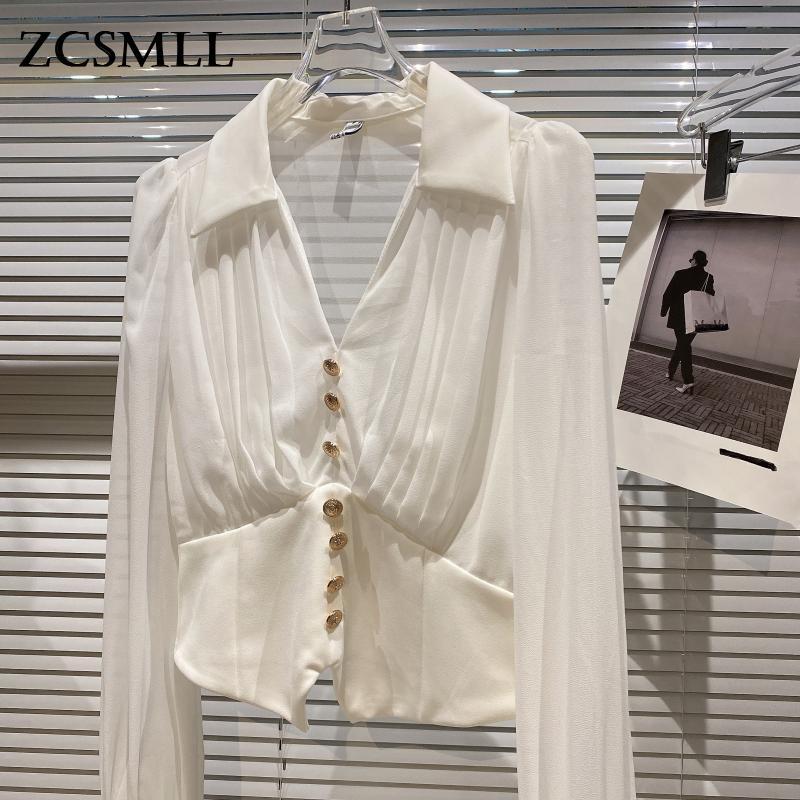 ZCSMLL بلوزة بيضاء نسائية لفصل الخريف والربيع 2021 قميص نسائي جديد بفتحة رقبة شكل v مع زر معدني بلون واحد