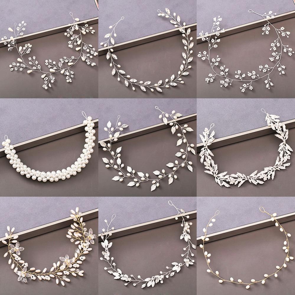 Pearl Rhinestone Women Headband Wedding Hair Accessories For Women Bride Tiara Headband Hair Jewelry Silver Color Hairband