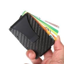 Slim Real Carbon Fiber Money Clip Brand Fashion Male Wallet High Quality Men Wallet Money Clip Coin Pocket Solid Card ID Holder