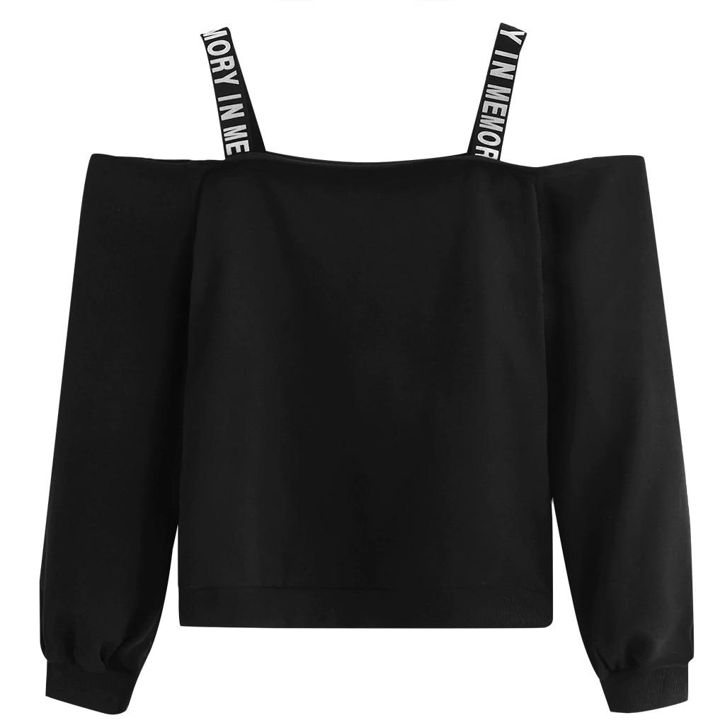 Sudaderas con hombros descubiertos de moda para mujer, sudadera de manga larga, jersey con estampado de letras, blusa, Sudadera negra con capucha, bluza domowa damska