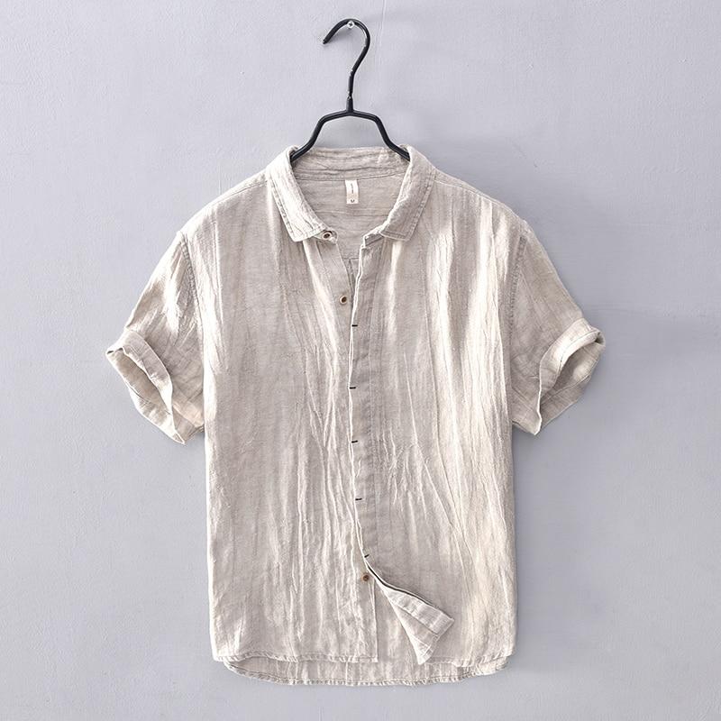 قميص رجالي من الكتان بأكمام قصيرة ، ملابس غير رسمية عصرية ، قميص مريح بلون سادة ، قميص رجالي من الكتان