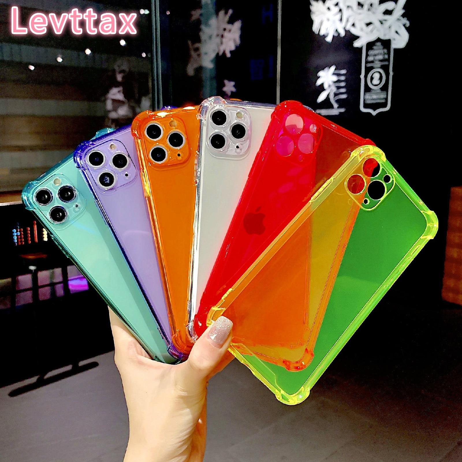 100 قطعة لهاتف iPhone 12 mini الفلوريسنت حافظة ملونة مضادة للصدمات لهاتف iPhone 11 Pro Max XS XR X 6 7 8 Plus غطاء شفاف ناعم من مادة TPU