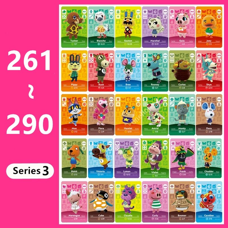 Animal Croxxing 261~290 Series 3 Animal NFC Card Tag Ntag215 NS 3DS Games New Horizons Villager Hot