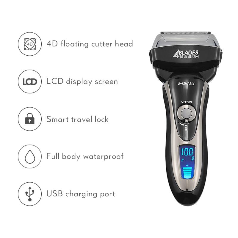 Professional Electric Shaver for Men Reciprocating Beard Trimmer 4-head Razor Magnetic Suspension Razor Hair Shaving Machine enlarge