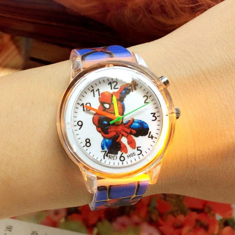 Cartoon Cute Colorful Light Silicone Quartz Watch Children Kids Boys Girls Fashion Bracelet Luminous