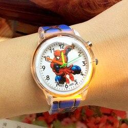 Bonito dos desenhos animados colorido luz silicone relógio de quartzo crianças meninos meninas moda pulseira relógio de pulso luminoso