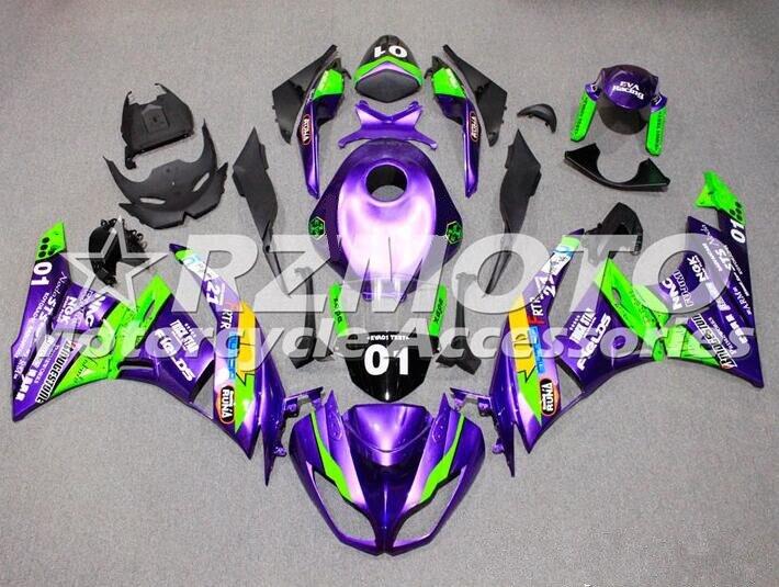 Nuevos Kits de carenado completo ABS aptos para Kawasaki ZX6R ZX-6R Ninja 636 2009 2010 2011 2012 09 10 11 12 juego de carrocería púrpura + tanque