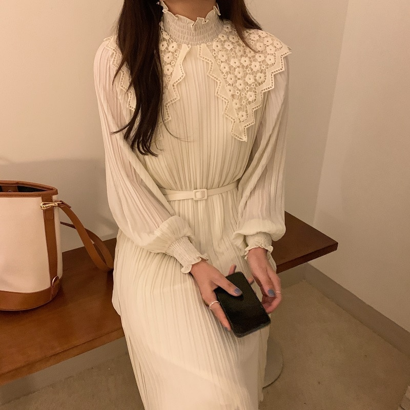H0d9a40db91a94d8abc702a5502f31a00V - Spring / Autumn Lace Stand Collar Long Sleeves Pleated Midi Dress with Belt