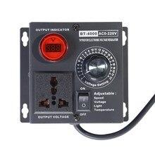 EU Plug AC220V 4KW SCR Verstelbare Voltage Dimmer Licht Temperatuur Motor Power Fan Speed Controller