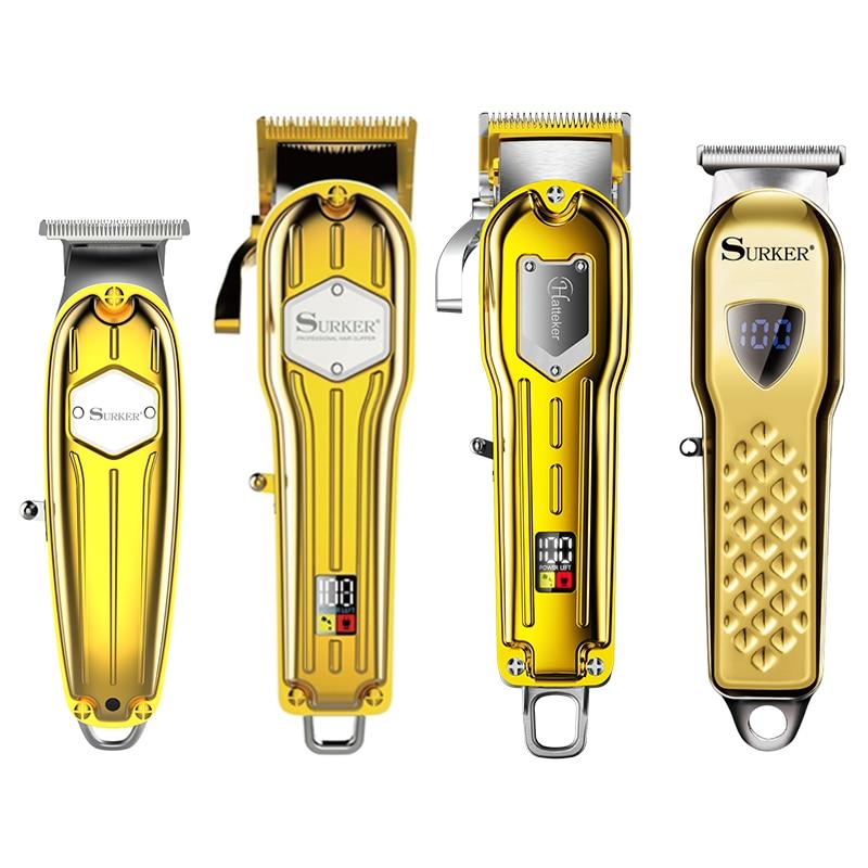 Surker-ماكينة قص الشعر المعدنية اللاسلكية الاحترافية للرجال ، ماكينة حلاقة لاسلكية احترافية مع شاشة LCD لقص الشعر
