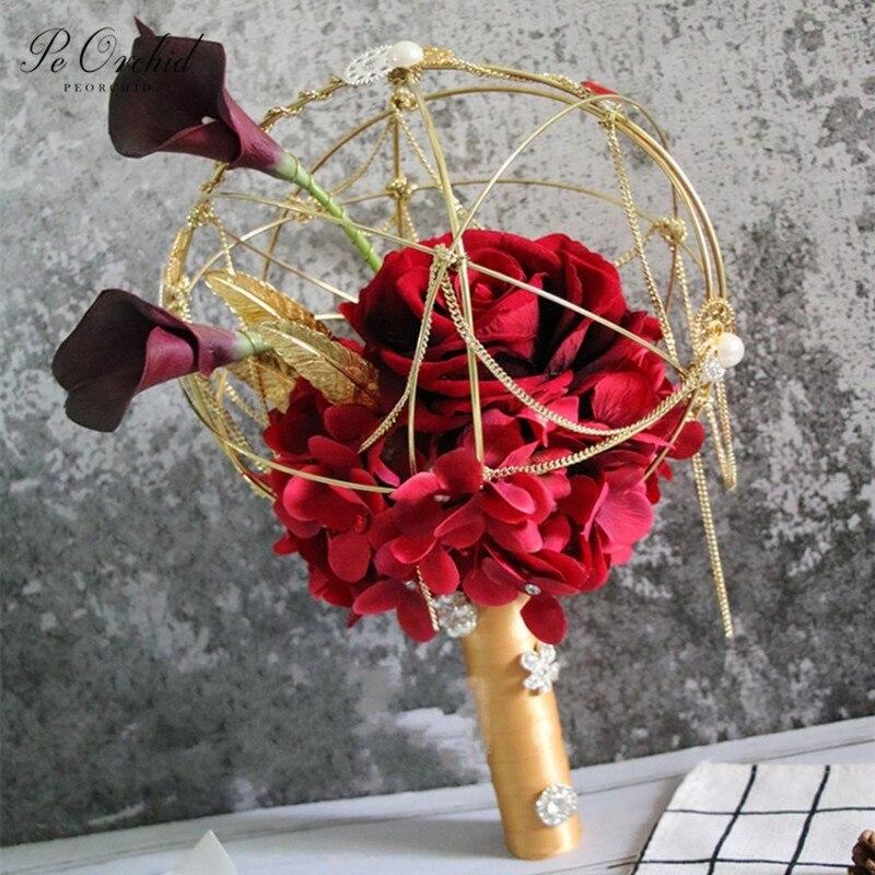 Peorchid 2020 estilo chinês casamento flores bouquets de noiva rosa vermelha artificial luxo ouro arquitetura noiva broach bouquet