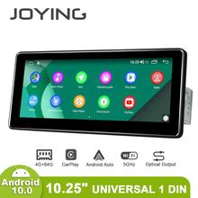 Универсальный автомобильный радиоплеер, Android 10,0, 1 din, 10,25 дюйма, 1280*480 IPS, 4 Гб ОЗУ, 64 Гб ПЗУ, RDS, BT, поддержка 4G/резервная камера