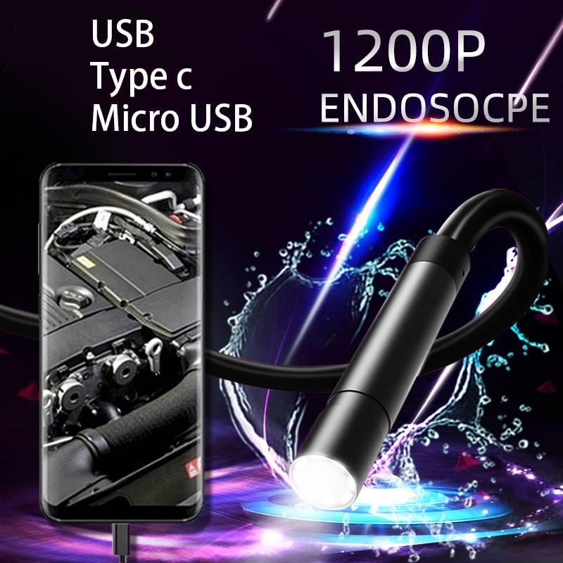 1200P автомобильный эндоскоп HD Тип c, эндоскопическая мини Гибкая камера для телефона Android, сливной Бороскоп, Мобильная трубка, Инспекционная к...