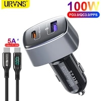 urvns 100w usb c car charger pps pd 65w 30w type c super fast charging qc 3 0 18w cigarette lighter adapter for laptopsphones
