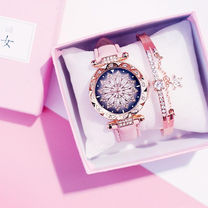 Luxus Frauen Uhren Armband set Starry Sky Damen Armband Uhr Casual Leder quarzuhr Armbanduhr Uhr Relogio Feminino
