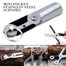 1pc Mini Pocket EDC Scissors Stainless Steel Scissors Spring Bolt for Key Ring Key Chain Decor Outdoor Safety Tool 60mm*30mm