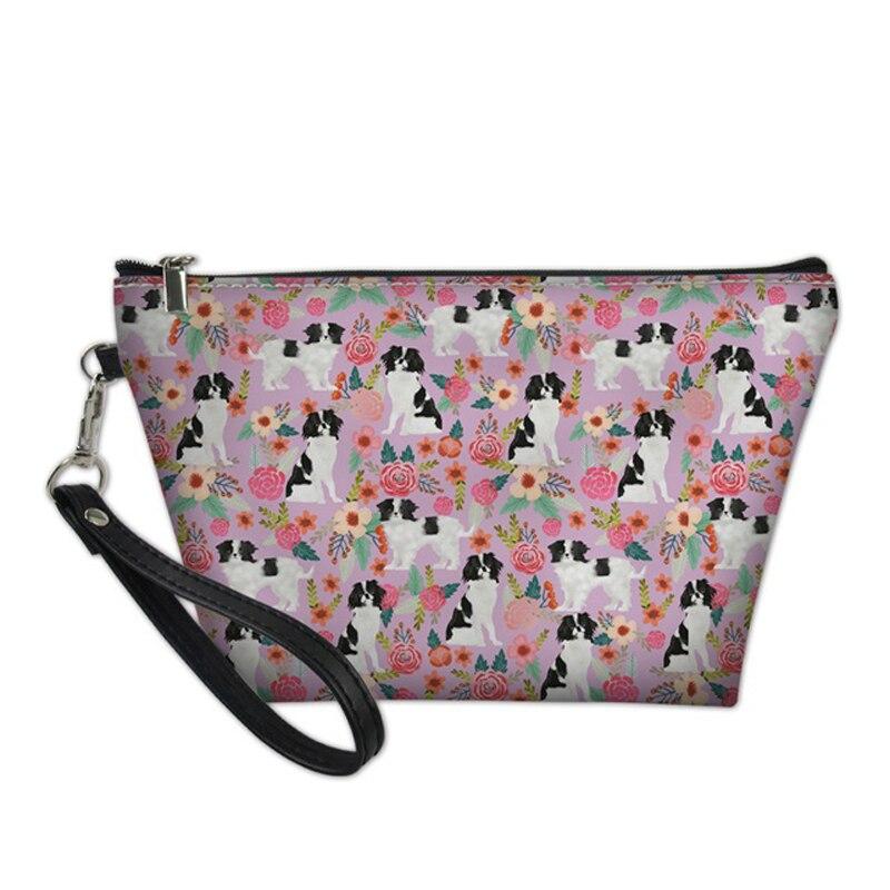 De moda bolso de las mujeres, caja de cosméticos de poliuretano impermeable bolso Kit imprescindible neceser Chin Japonés perro estampado maquillaje cajas
